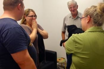 the moment a cat owner is reunited with their lost cat